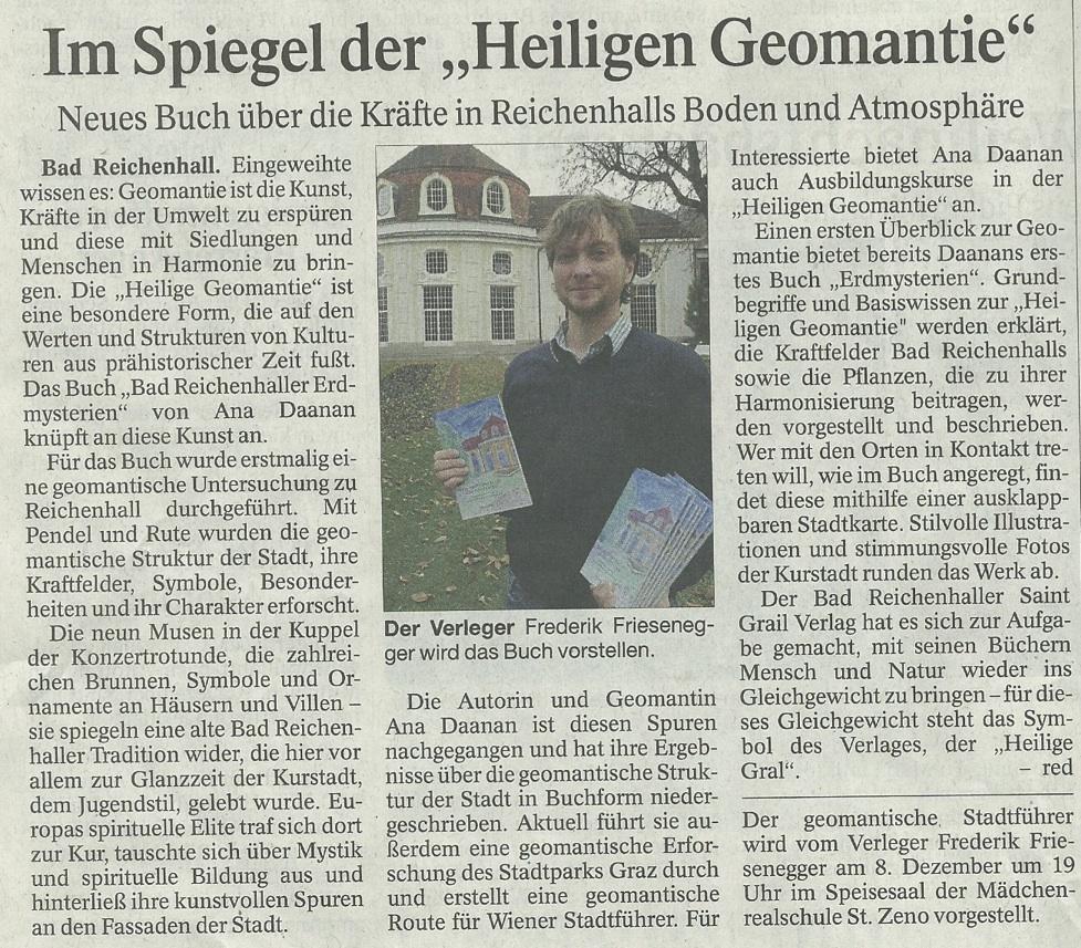 Erdmysterien - RHer Tagblatt vom 02.12.15
